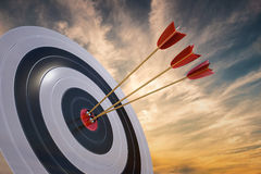 3D rendered illustration of target with arrows at sunset Royalty Free Stock Photos