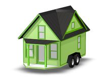 3D Rendered Illustration of a tiny house on a trailer. Stock Image