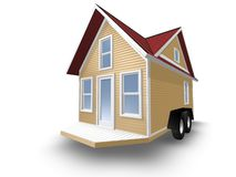 3D Rendered Illustration of a tiny house on a trailer. Stock Photo