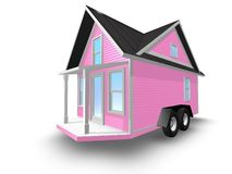 3D Rendered Illustration of a tiny pink house on a trailer. Stock Images