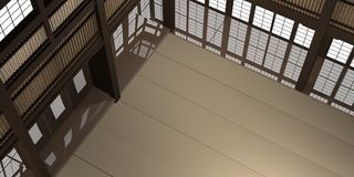 3d rendered illustration of a traditional karate dojo or school with training mat and rice paper windows. Royalty Free Stock Photo
