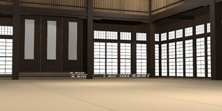 3d rendered illustration of a traditional karate dojo or school with training mat and rice paper windows. 3d rendered illustration of a traditional karate dojo Royalty Free Stock Photos