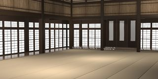 3d rendered illustration of a traditional karate dojo or school with training mat and rice paper windows. 3d rendered illustration of a traditional karate dojo Royalty Free Stock Image