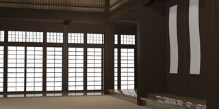 3d rendered illustration of a traditional karate dojo or school with training mat and rice paper windows. royalty free stock images