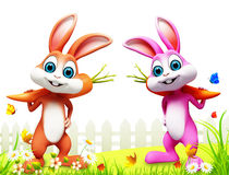 Two easter bunny with carrot on green grass. 3d rendered illustration of  two easter bunny with carrot on green grass Stock Images
