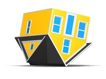 3D Rendered Illustration of an upside down house isolated on a white background. Royalty Free Stock Image