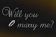 3D rendered illustration Will you marry me?. Illustration of 3D diamonds in the shape of the words Will you marry me? rendered on a black background Royalty Free Stock Image