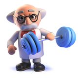 Cartoon mad scientist in 3d not realising his own strength weightlifting stock illustration