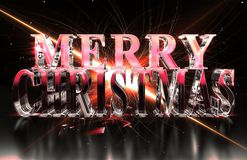 Merry Christmas text in glass material with red glare and caustics Royalty Free Stock Photography
