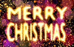Merry Christmas text made of bokehs with sparks, red and purple bokehs background Royalty Free Stock Image