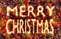 Merry Christmas text made of multi colored bokehs Stock Photography