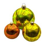 Three Christmas balls with golden snowflakes decoration, on white background royalty free illustration