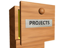 Drawer with projects documents Royalty Free Stock Image