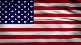 USA flag waving 4k. 3d rendered image, flag of USA waving with the wind, United States flag composed by a red and white horizontal lines and a navy blue square stock footage