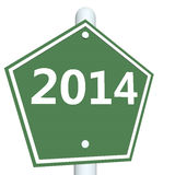 Year of 2014. 3D rendered image of road sign with 2014 text Stock Photos