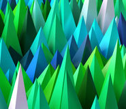 3D rendered image of sharp random pyramids as abstract futuristi Royalty Free Stock Photo