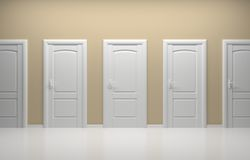 3d rendered interior composition. 3d rendered interior composition with white doors Stock Photo