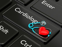 3d rendered keyboard with heart and stethoscope Royalty Free Stock Photography