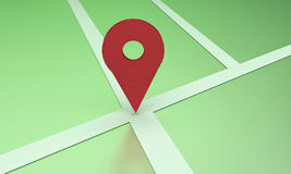 3d rendered location symbol. On a map stock illustration