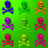 3d rendered low-poly skulls illustration. Colorful pop art style, rendered low-poly skulls illustration pattern Royalty Free Stock Image