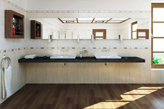 3D rendered luxury bath room Royalty Free Stock Photography