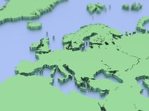 A 3D rendered map of Europe. A 3 D map of the coasts of Europe including those of Britain, Ireland, France, Spain, Italy, Portugal, Germany, Norway, Sweden and royalty free illustration