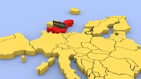 A 3D rendered map of Europe, focused on England. stock video footage