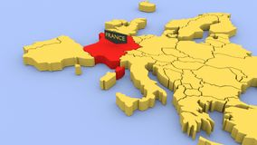 A 3D rendered map of Europe, focused on France. stock footage
