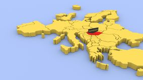 A 3D rendered map of Europe, focused on Hungary stock footage