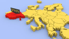A 3D rendered map of Europe, focused on Spain. stock video