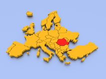 3D rendered map of Europe with Hungary. A 3D rendered map of Europe with Hungary in red stock illustration