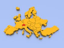 3D rendered map of Europe. A 3D rendered map of Europe with national borders and Switzerland in red color Royalty Free Stock Images
