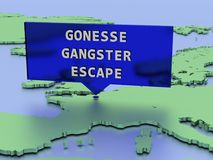 3D rendered map sticker, manhunt covers France after convict escapes prison in commando-style helicopter assault Stock Photo