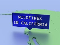 3D rendered map sticker, wildfires in california royalty free stock image