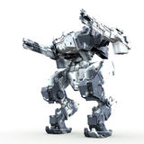 3d rendered mech isolated background. High quality 3d render of battle robot Stock Images