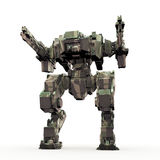 3d rendered mech isolated background. High quality 3d render of battle robot Stock Photos