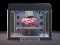 3d printer printing a brain Royalty Free Stock Photo