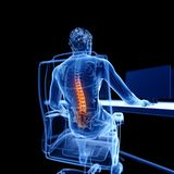 An office worker. 3d rendered medically accurate illustration of an office worker having a painful back stock illustration
