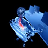 An office worker. 3d rendered medically accurate illustration of an office worker having a painful back royalty free illustration