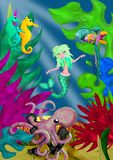 3d rendered mermaid cartoon character in underwater world stock illustration