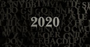 2020 - 3D rendered metallic typeset headline illustration. Can be used for an online banner ad or a print postcard Stock Image