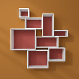 3d rendered modern shelves. Royalty Free Stock Photography
