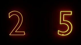 3d rendered New Year sign 2015 as neon lamp stock footage