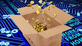 3D Rendered Golden Dollars Coins Falling into Brown Package on Circuit Board, Work From Home and Binary Code Background
