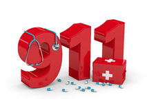 3d rendered 911 number with stethoscope, pills and first aid kit. Isolated over white background Stock Photo