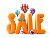 3D Rendered Orange Sale Word Title for Summer Promotions. In White Background with Flying Balloons, Starfish, Beach Ball, and Sunglasses Illustrations Stock Photo