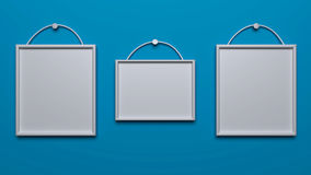 3d rendered photo frames. 3d rendered three photo frames in the Wall vector illustration