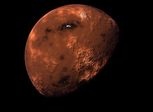 3D rendered planet Mars. High resolution of 3D rendered of the planet Mars Royalty Free Stock Images