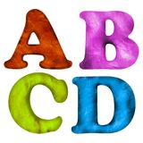 3D rendered plasticine textured ABC alphabet letters icons isolated on white. Background Stock Photos