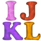 3D rendered plasticine textured ABC alphabet letters icons isolated on white. Background royalty free illustration